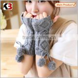 2016 New design fashion half hand gloves thick knitted long glove cheap girls knit gloves