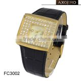 gold plated diamond leather strap watch