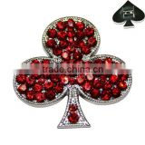 Zinc Alloy Metal Rhinestone Poker clubs Shape Rivets for Pet Collars Decorative Accessories