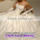 Bride Dress Custom Made White/Ivory Satin Organza Applique Beading Vintage A-Line Wedding Dress
