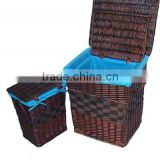 Brown laundry wicker basket with liner,100% woven by hand