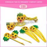 girl customize yellow pineapple shape elastic hair band resin hair clip hair accessories kit