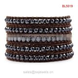 Wholesale faceted black onyx beads leather wrap bracelets 2015 hot new products men strap