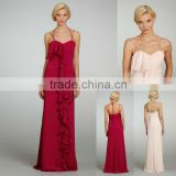 Custom Made Wholesale Spaghetti Halter A-line Cascading Ruffle Ribbon Belt Natural Floor Length Bridesmaid Dress 5315