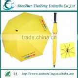 wholesale automatic golf umbrella with T190 pongee fabric and rubber coated plastic handle with custom logo