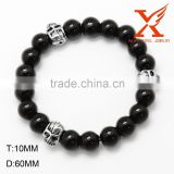 Stainless Steel Skull Accessory Traditional Handmade Bracelet Avatar Black Agate Bead Bracelet