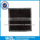 Clothing woven size tags , All black clothes wash woven label tags are machine made