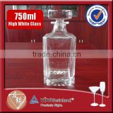 750ml beautiful embossed square glass whiskey decanter with glass lid