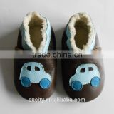 china genuine leather warm baby moccasin shoe
