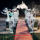 White metal wedding flower arch , wedding stage garden flower decorative arch wholesale