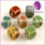 2015 whole sale artificial for DIY jewelry making Bead porcelain fancy coloful 6X6mm square 20pcs per bag
