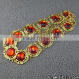 From china Imitation ruby beads chocker necklace design, hot sale full neck covering necklace design