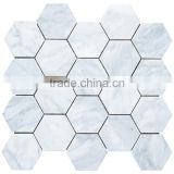 MM-CV250 Economic modern home design natural stone white carrara marble hexagon mosaice tiles