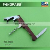 Stainless steel wine corkscrew / bottle opener with plastic handle BO-1009
