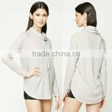 Bulk Wholesale Clothing 100% Cotton Lady Sweater Cowl-Neck Long Raglan Sleeves Ribbed Pullover French Terry Sweatshirt