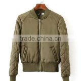 Oem New Model Women plain olive green Bomber Winter Jacket