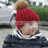 trendy top selling baby kids alpaca fur ball pom pom beanie hats