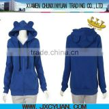 hotsale blank hoodie with ears for women and girls BLUE