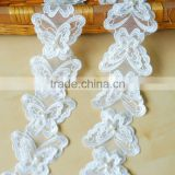 Handmade Craft Garment Accessories Sewing Beaded Organza White Butterfly Venice Lace Applique Patch