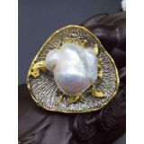 Very precious jewelry Italian design 925 pure 24 k imperial court plating technology ~ 925 silver inlaid baroque pearl pendant brooch dual-use