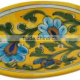 Handmade Blue Pottery Soap Dish , Hand Painted Blue Pottery Soap Dish