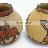African natural dry fruit vases, with ceramic decor, different ethnic images, handmade in Lesotho
