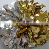 gold and silver metallic cheerleading pom poms