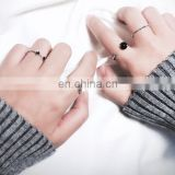 4PCS/Set Fashion Jewelry Black Bead Ripple Hollow Silver Rings For Women Knuckle Joint Ring Set