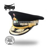 Custom golden embroidery royal corporal peaked cap