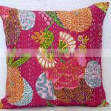 "Pink Kantha Cushion Pillow Cover Handmade Embroidery Work Throw 16"" Indian floral Printed Home Decorative Traditional ethnic art"