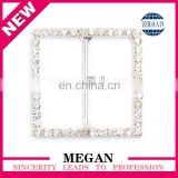 Silver plated square wedding rhinestone ribbon cross buckle for invitation