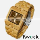 Rectangular dial wholesale custom bamboo wooden watch,promotional luxury watch directly from the factory