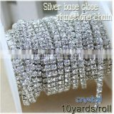 2015 new deals 10yards/roll crystal white rhinestone silver base close rhinestone chains