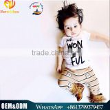 New 2016 Fashion Boy Summer Clothes Children Clothes Sets Infant Boys Cute Kids 100% Cotton Alphabet Printed Casual Sets