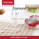 D657 2015 new fashion design diamond spoon plastic flexible shapes plastic coffee spoon of PS spoon set