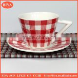 personalized tea cup saucer set New design Ceramic tea coffee cup and saucer with decal printing mug