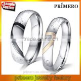 Stainless Steel Silver Half Heart Simple Circle Real Love Couple Wedding Engagement Rings