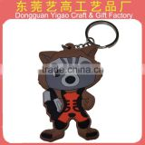 Factory wholesale 3d rubber animal shape keychain, lovely anime keyrings