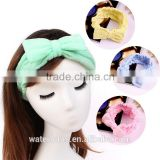 american popular candy color elastic terry cloth hair turban cute bowknot headband towel for girl