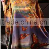 Digital printed silk kaftan