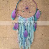 Tassel Fringe Dream Catcher - Blue Fringe Crocheted Mandala - Boho Wedding Decor - Bohemian Crochet Dream Catcher