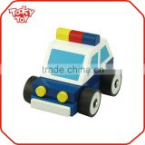 For Baby Play Small Wooden Police Car Toy