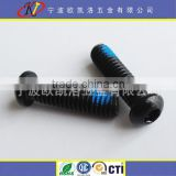 Black Zinc oval button head hex socket screw with Nylok patch blue