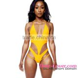 katrina kaif open sexy photo Yellow Sexy Plunge V Neck Cross Back Monokini