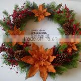 2015 new christmas artificial poinsettia and berry wreath orange 24 inch christmas artificial pine flower decoration
