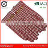 Helilai Factory Leather Gloves RED Sheep Leather Palm and contrast Red Houndstooth Women Driving Leather Gloves