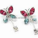 Fashion metal silver butterfly with colorful crystal drop earrings , Customized Colors or LOGO and OEM design accept