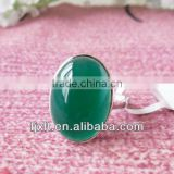 New Arrival Large Natural Chalcedony 925 Sterling Silver Gemstone Jewelry Rings