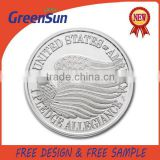 2015 most popular creative customized 3d silver plating baseball design coins