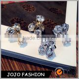 Wholesale women wear gold or silver plated earring bulk zircon diamond crystal stud earrngs